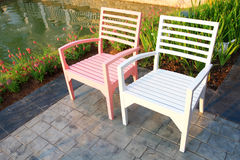 Relax chairs in the park Royalty Free Stock Photos