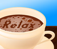 Relax Coffee Means Caffeine Resting And Coffeehouse. Relax Coffee Indicating Rest Relaxed And Recreation Royalty Free Stock Photo