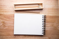 Relax color pencil on the wood table. With free space Royalty Free Stock Image