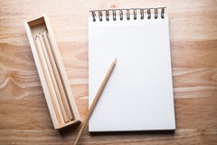 Relax color  pencil on the wood table. With free space Royalty Free Stock Photo