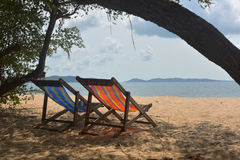 Relax and comfortable in sea. Loungers on the Sea beach Stock Photography