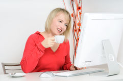Relax with computer Royalty Free Stock Photos