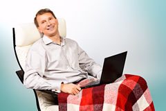 Relax with computer Stock Photography