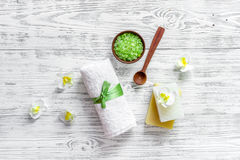 Relax concept. Handmade organic soap and bath salt on wooden table background top view copyspace. Relax concept. Handmade organic soap and bath salt on wooden royalty free stock photos