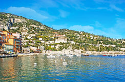 Relax on Cote d`Azur. Villefranche-sur-Mer is one of the most charming tiny resorts of Cote d`Azur, hidden between Nice and Monaco, France Stock Images