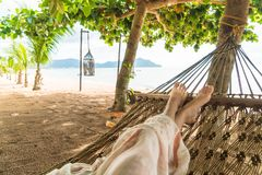 Relax on cradle. With beach background royalty free stock photos