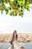 Relax on cradle. With beach background stock images