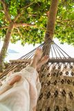 Relax on cradle. With beach background stock photos
