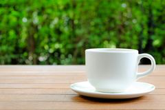 Relax with a cup of Coffee in the garden. White coffee cup on wood table with bokeh green background Stock Photo