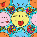 Relax cute face seamless pattern Royalty Free Stock Image