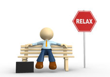 Relax. 3d people - man, person sitting on the bench Royalty Free Stock Photos