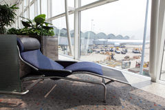Relax deck chair at airport Stock Photography