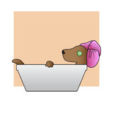 Relax Dog Takes A Bath. Vector Illustration Royalty Free Stock Images