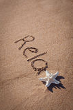 Relax drawing on beach. Summer concept with starfish on sands. Royalty Free Stock Photos