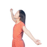 Relax dress woman   on white background Royalty Free Stock Photo