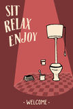 Relax and enjoy lettering. Welcome text. Image for interior, WC art. Stock Photo