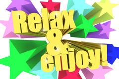 Relax And Enjoy motto. Golden text with vivid stars Stock Photo