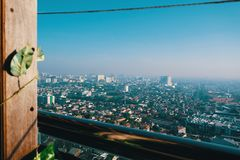 Cityscape and skyline view from the rooftop royalty free stock photos
