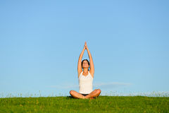 Relax exercise and yoga outdoor Royalty Free Stock Images