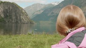 Relax on the fjord coastline. Norway stock video footage
