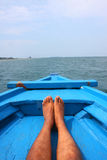Relax Foot on Blue Boat Royalty Free Stock Photo