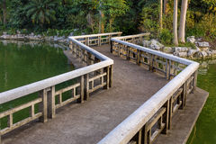Relax footpath bridge on water Stock Photography