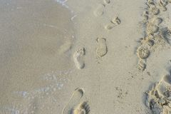 Relax, Footprints in the sand of a beach by the Mediterranean se. A on the island of Ibiza in Spain, holiday and summer scene Stock Photography