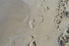 Relax, Footprints in the sand of a beach by the Mediterranean se Royalty Free Stock Photography