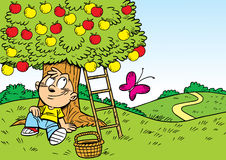 Relax in the garden. The illustration shows a boy who is resting in the garden under the apple tree. Illustration done in cartoon style, on separate layers Stock Photos