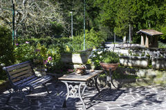 Relax garden. In Italian mountains Stock Photo