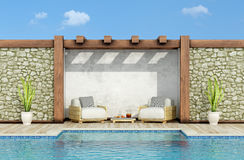 Relax in a garden with swimming pool Stock Image