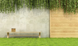 Relax in the garden. Wooden bench with books in a garden - 3D Rendering Royalty Free Stock Photos