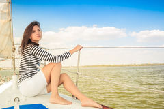 Relax girl, deck yacht Stock Image