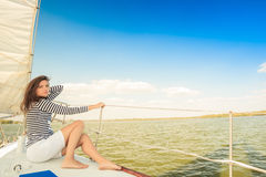 Relax girl, deck yacht Royalty Free Stock Photography