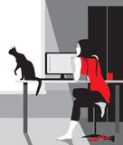Relax girl in red. With a black cat Royalty Free Stock Photo