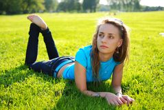 Relax in grass Royalty Free Stock Photography