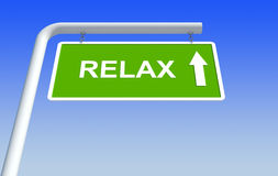Relax in green road sign Stock Image