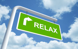 Relax in green road sign Stock Photography
