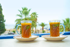 Relax in Hammamet. The refreshing arabic tea is the best choice to relax and enjoy vacation in Tunisia Stock Photo