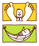 Relax & hammock. Vector hand drawn cartoon characters Stock Photos