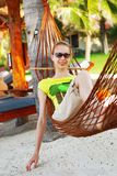 Relax in hammock Stock Images