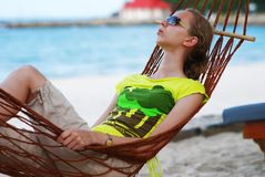 Relax in hammock Stock Photos