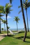Relax on a hammock at Arraial d'Ajuda Eco Resort stock photo