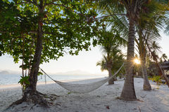 Relax in hammock on the beach Stock Image