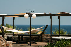 Relax on hammock with view on sea Royalty Free Stock Images