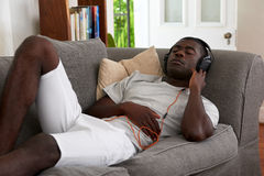 Relax headphones music man Royalty Free Stock Photos