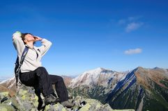 Relax on hiking - blue sky copy space Royalty Free Stock Photo