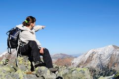 Relax on hiking - showing with hand Royalty Free Stock Photography