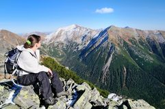 Relax on hiking - view on mountains Stock Images