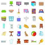 Relax in house icons set, cartoon style. Relax in house icons set. Cartoon style of 36 relax in house vector icons for web isolated on white background Stock Photography
